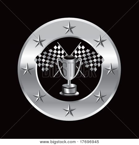racing checkered flags crossed in trophy on superstar background