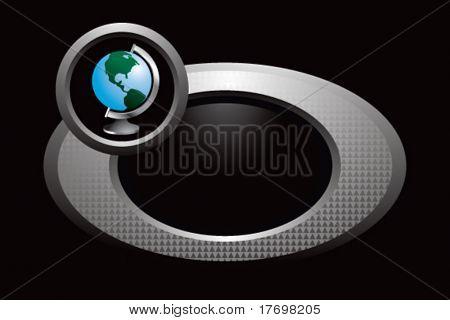 world globe on circular ring