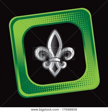 fleur de lis symbol on tilted green badge