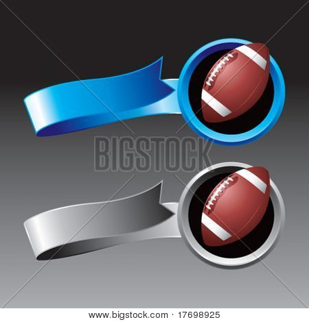 footballs on ribbon banners colored blue