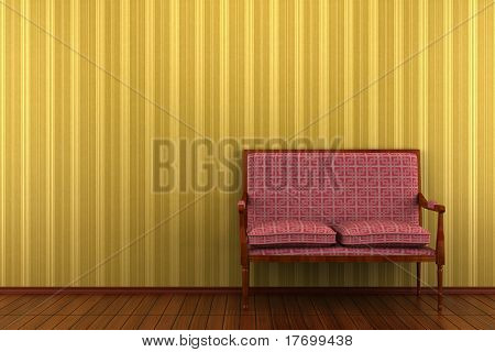 red classic sofa in front of yellow striped wall