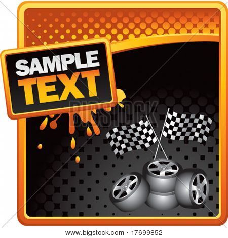 racing checkered flags and tires on grungy splattered background