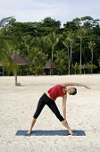 Stretching On Beach