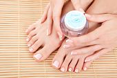 care for beautiful woman legs, hands and nails