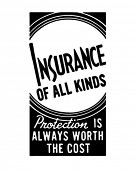 Постер, плакат: Страхование всех видов ретро рекламный баннер искусство