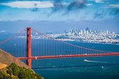 Golden Gate Bridge With San Francisco Skyline In Summer, California, Usa poster