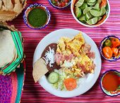 image of poblano  - Breakfast in Mexico eggs and ham chili sauce and tortilla Mexican flavor - JPG