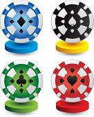 Постер, плакат: фишки для покера на цветных дисках