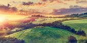 Picturesque sunset over green hills sunshine Italy dramatic sky cloud panorama landscape. Bologna. T poster