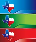 pic of texas flag  - Lonestar state on colored banners - JPG