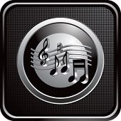 stock photo of musical note  - music notes on web button - JPG