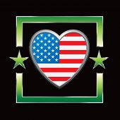 pic of usa flag  - american flag heart icon on star background - JPG