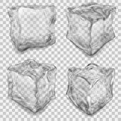 Set Of Transparent Gray Ice Cube poster