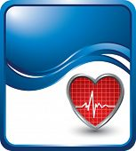 image of blue-screen-of-death  - heart beat on blue wave backdrop - JPG
