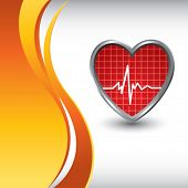 stock photo of blue-screen-of-death  - heart beat on vertical wave backdrop - JPG