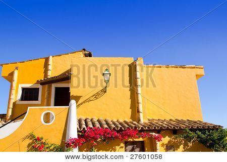 Calvia Cala Fornells yellow mediterranean houses in Mallorca Balearic island