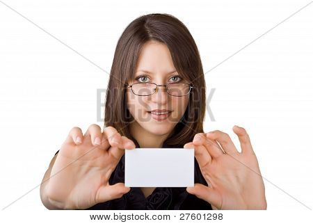 Beautiful Business Woman Showing A Business Card