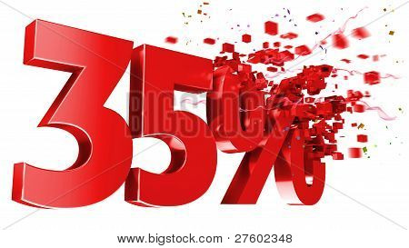 Explosive 35 Percent Off On White Background