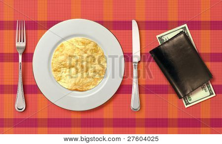 fried pancake on white plate for consumer in cafeteria