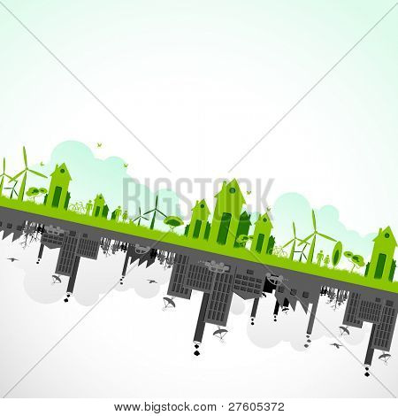 illustration of cityscape showing sustainability of earth