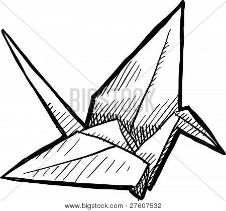 Bosquejo de grúa de origami