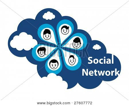 "Cloud computing concept. Social networking via the ""Cloud"" or the internet."