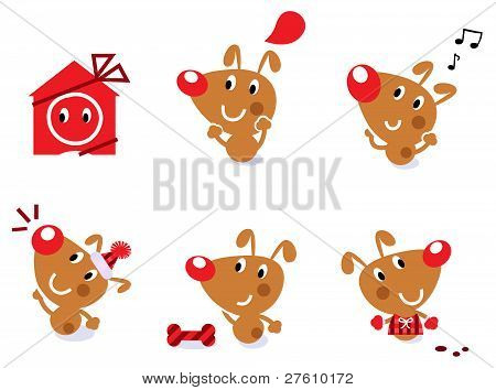 Cute Retro Christmas Dog Set Isolated On White