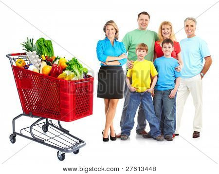 Happy family with a grocery shopping cart. Isolated on white background.