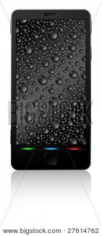 Negro smartphone aislado sobre fondo blanco.