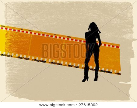 camera film on aging paper, vector illustration