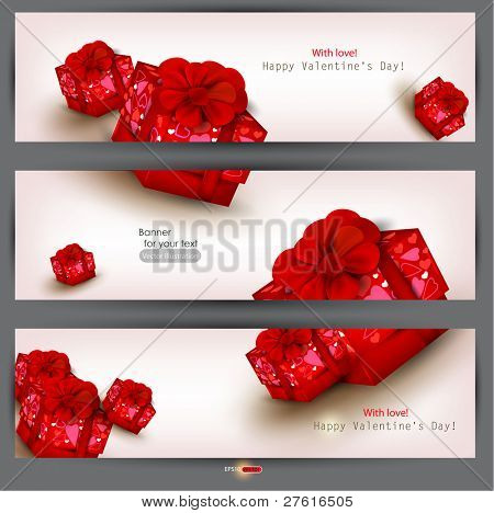 Set of three banners with red gifts. Valentine's Day. Vector illustration