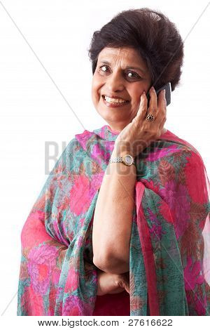 Elderly East Indian Lady Talking On Cellphone