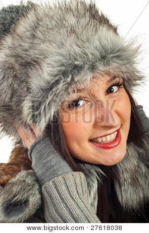 Happy Woman In Fur Hat