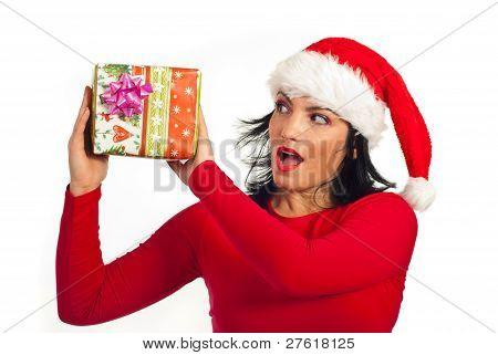 Surprised Santa Helper Holding Present