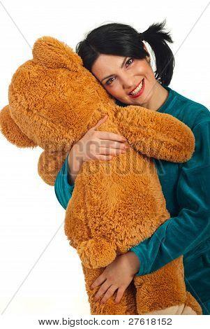 Happy Woman Huggy Teddy Bear