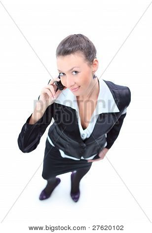 Confident smart businesswoman on mobile phone call.