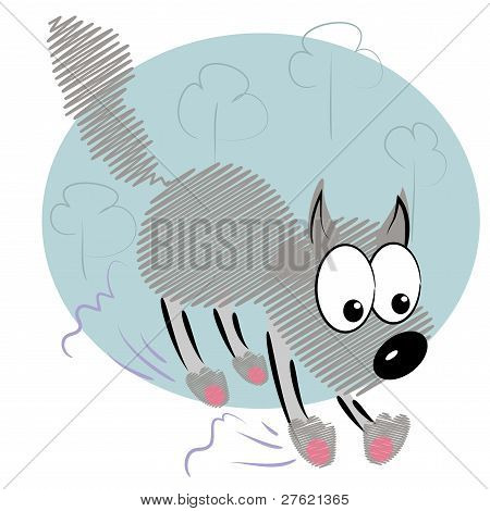 cartoon animal kid in hurry.cute wolf vector card.