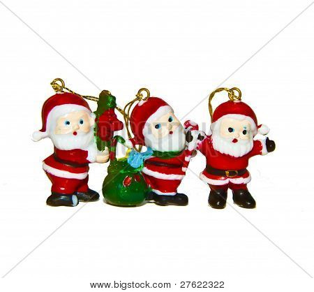 three santas stock photo