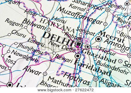 New Dehli on a map