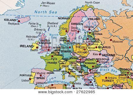 Europe map closeup