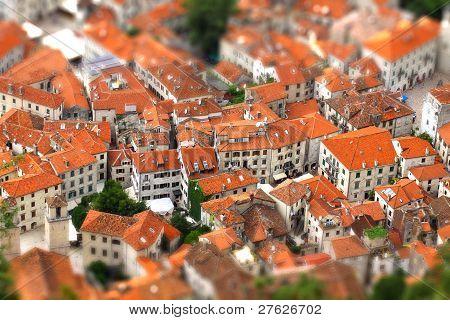 Kotor Old Town, Montenegro. Tilt-shift Miniature Effect