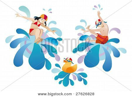 Little girl and boy jumping into a pool