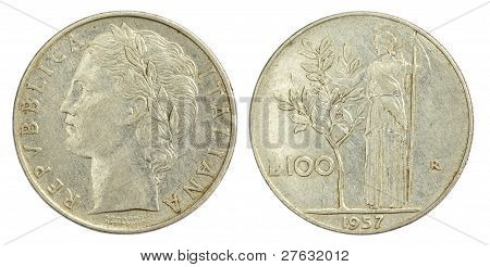 100 Lire Coin of Italy of 1957