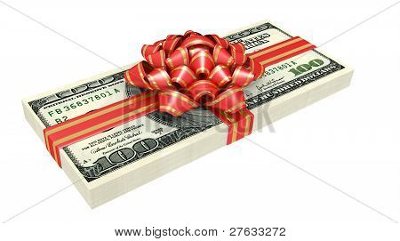 Gift Of Money, Dollars Bank Notes, Tied A Red Ribbon With A Bow