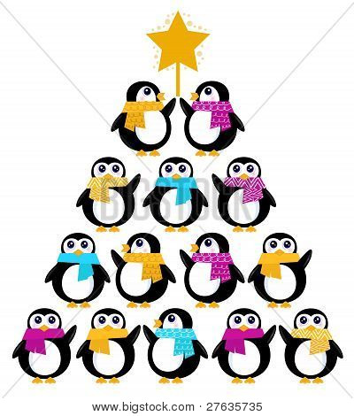 Cute Penguins Creating Christmas Tree Isolated On White