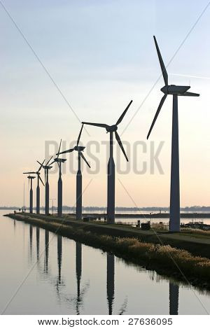 Wind-turbines at the IJsselmeer Holland