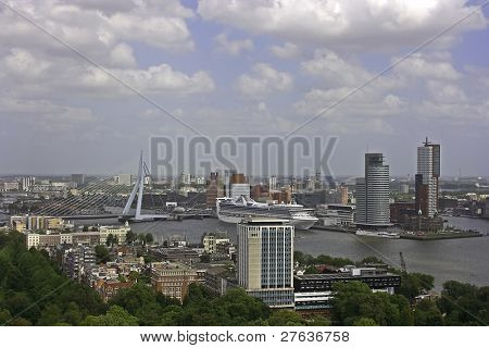 Rotterdam cityview with the erasmus bridge in the Netherlands
