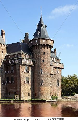 Towers of late medieval castle 'De Haar' near Utrecht in the Netherlands