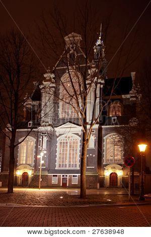 Westerkerk in Amsterdam by night in the Netherlands