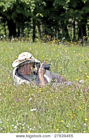 Photographer photographing nature